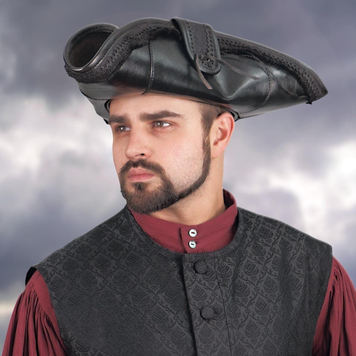 Black Leather Pirate King Tricorn Hat
