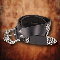 Overlord Black Leather Belt with Elaborate Silver Buckle