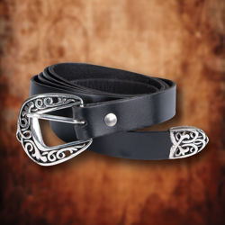 Feudal Long Thin Black Leather Belt with ornate silver buckle and tongue