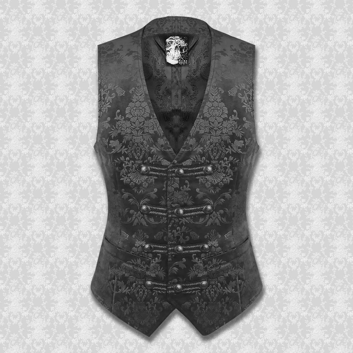 Dorian Black on Black Brocade Vest