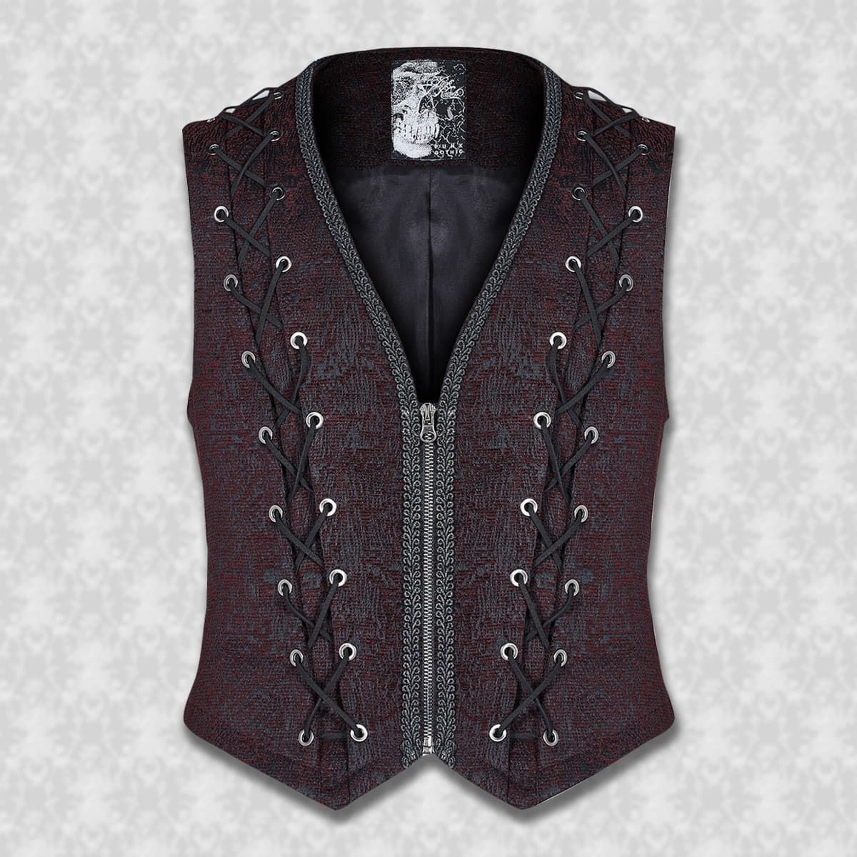 Blackheart Black and Wine Brocade Vest with Front Zipper and Faux Lace