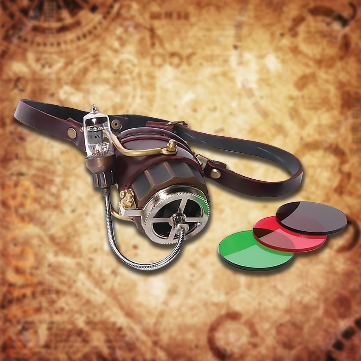 Leather Airship Captain Monocular with Interchangeable Lenses