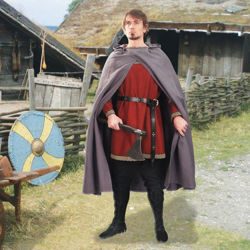 Medieval Cotton Cross Over Cloak in Grey with Hood Down