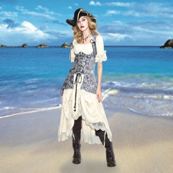 Pirate Mistress Long Corset without sleeves on and worn over Chemise