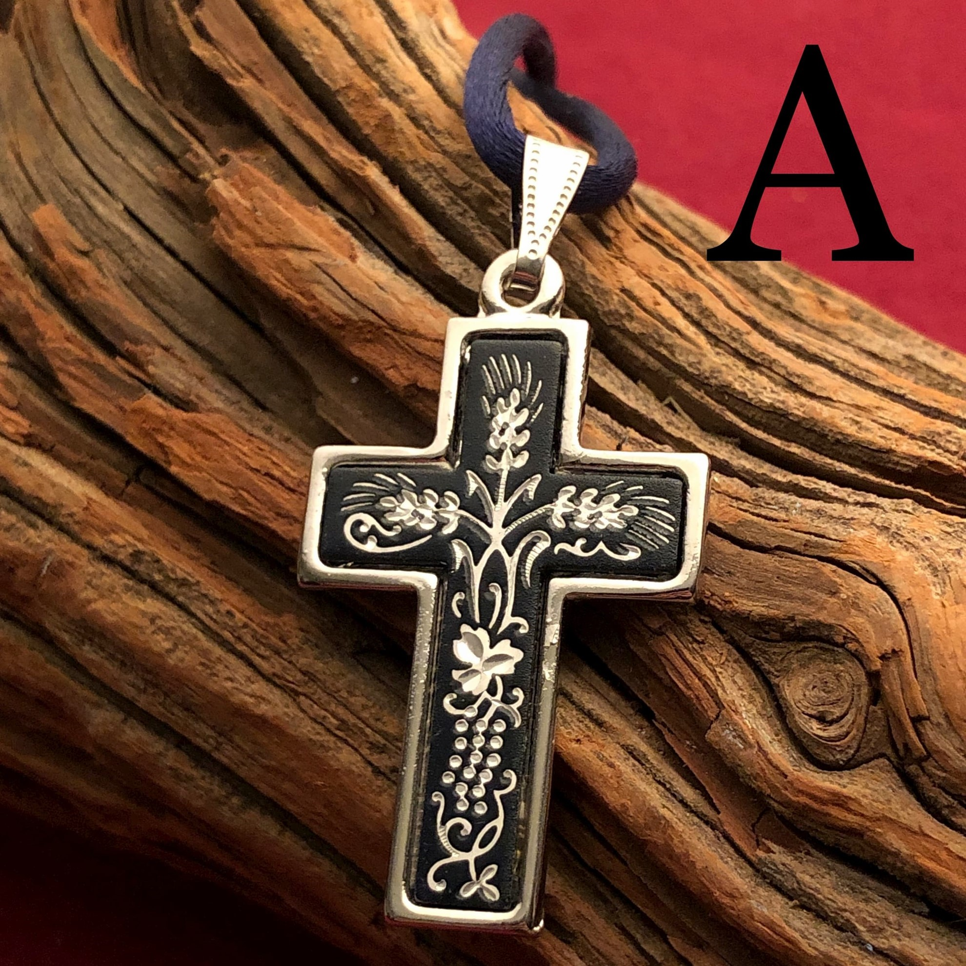 Midas Large Silver Cross Pendant Pattern A