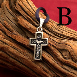 Small Silver Cross Pendant - Simple Style - Pattern B