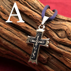 Small Silver Cross Pendant - Pointed Style - Pattern A