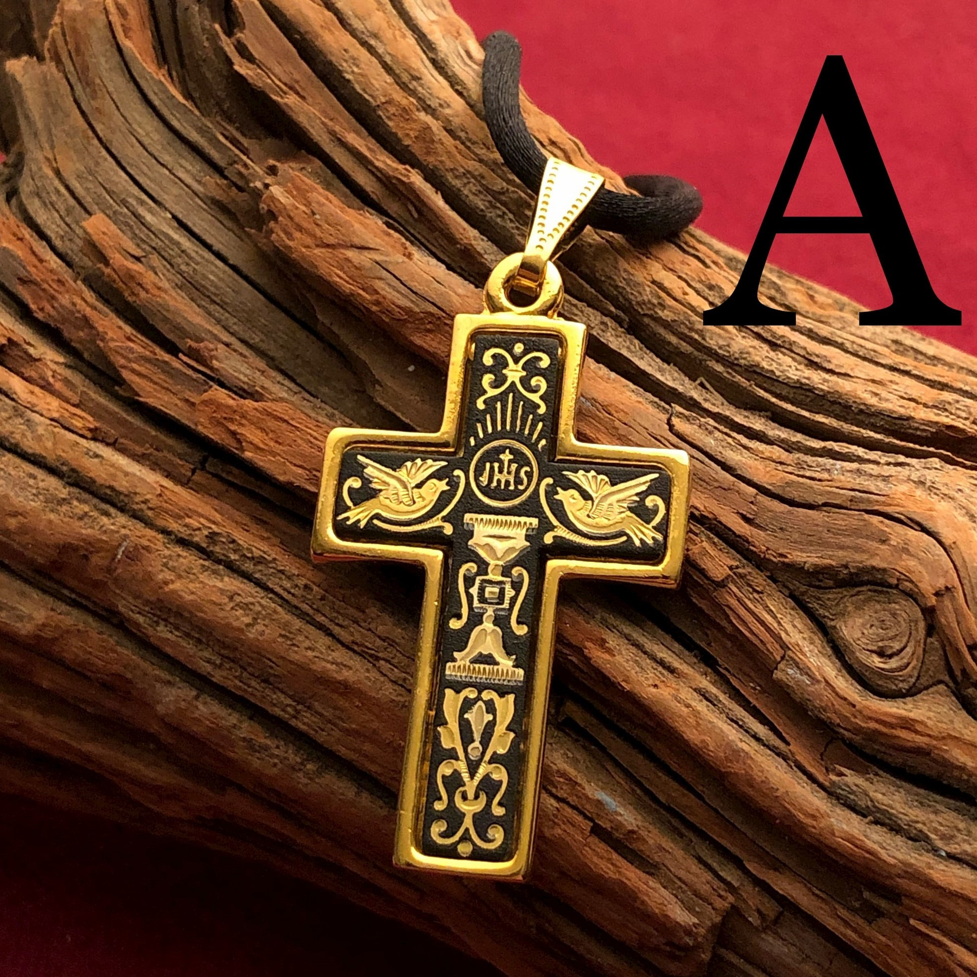 Large Gold Cross Pendant - Pattern A