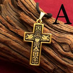 Large Gold Cross Pendant - Pattern A