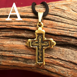 Small Gold Cross Pendant - Simple Style - Pattern A
