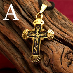 Small Gold Cross Pendant - Flared Style - Pattern A