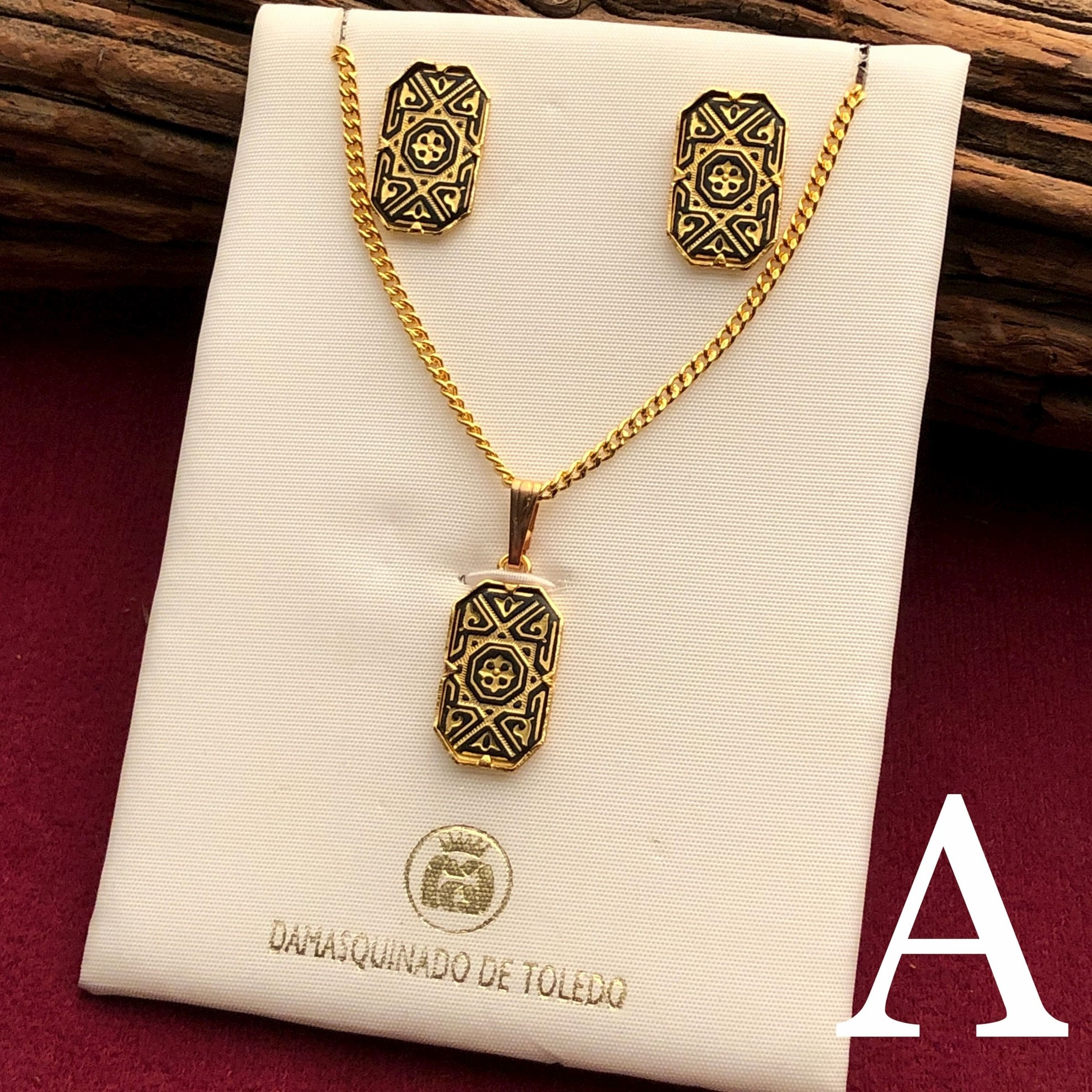 Gold Polygonal Pendant Set with Earrings - Pattern A