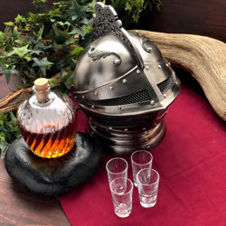 Knightly Helm Decanter Set with Glass Carafe and Shot Glasses