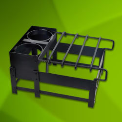Hand Forged Iron Replica Roman Camping Stove with burners and sliding grill