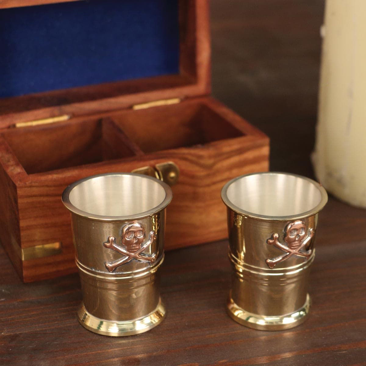 Pirate Captain Cup Shot Glasses with Wooden Storage Box