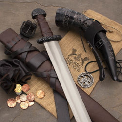 The Viking Explorer Box with Sword, leather belt and scabbard, drinking horn with frog, leather pouch with coins and a pewter raven necklace