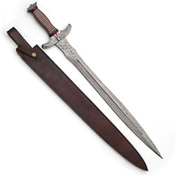 Dragon Piercer All Damascus Fantasy Sword with Leather Scabbard