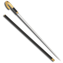 Gold Plated ISS Sword Cane with Full Length Rapier Blade