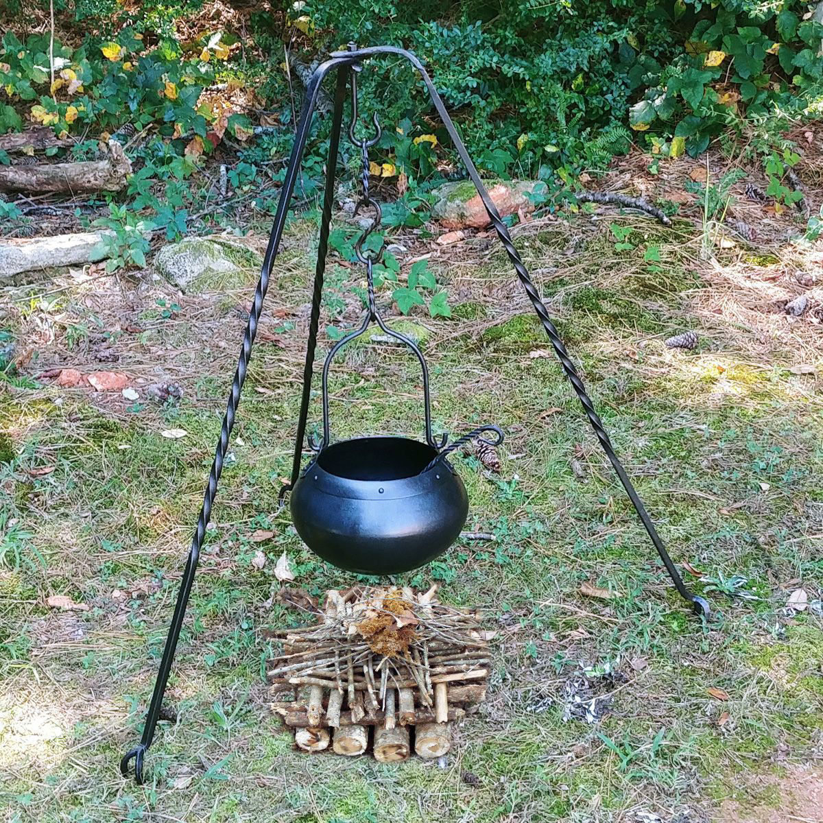 Medieval Hand-Forged Authentic Iron Ketle Cooking Set