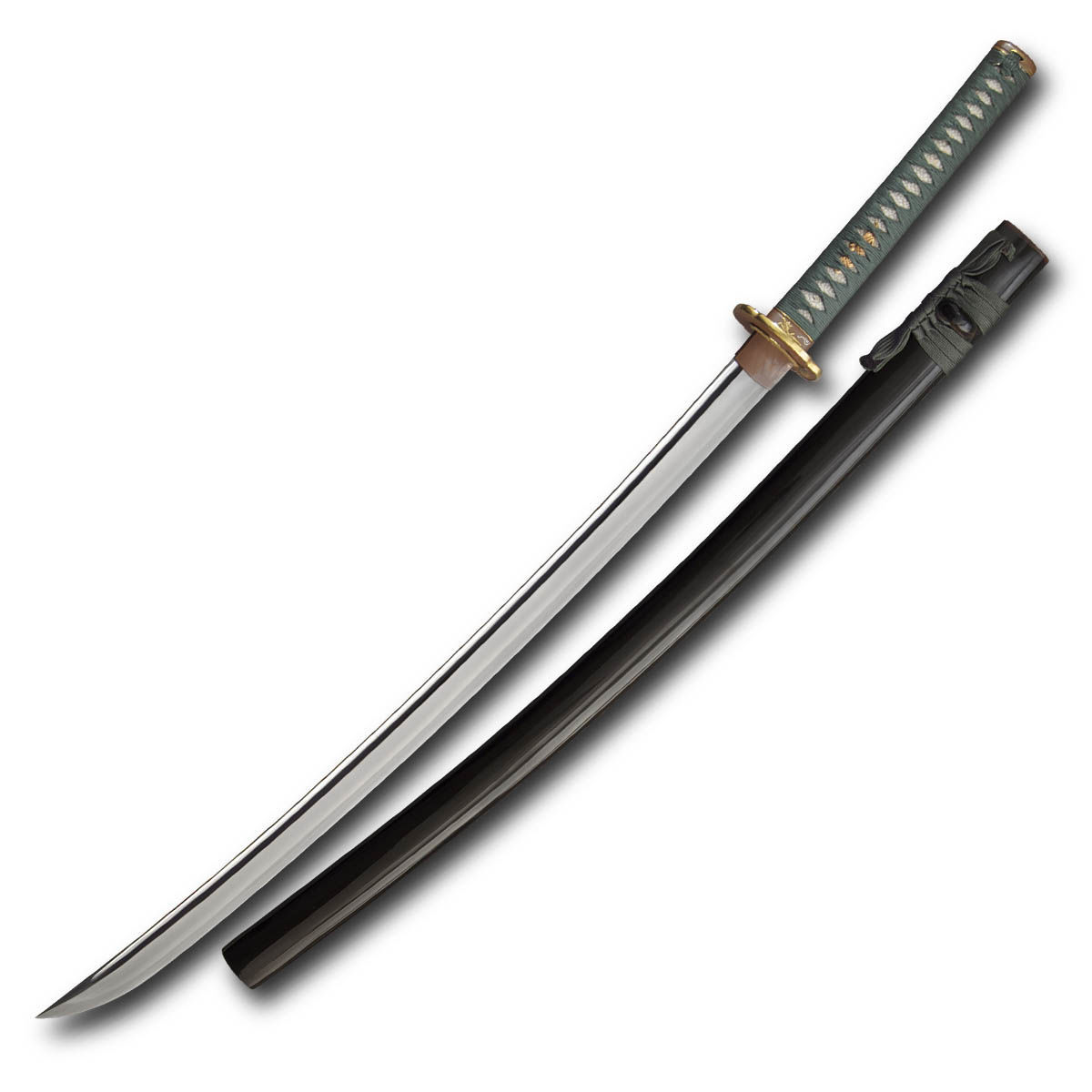 Praying Mantis Katana by Paul Chen / Hanwei with L6/Bainite blade steel blade and brown lacquered saya
