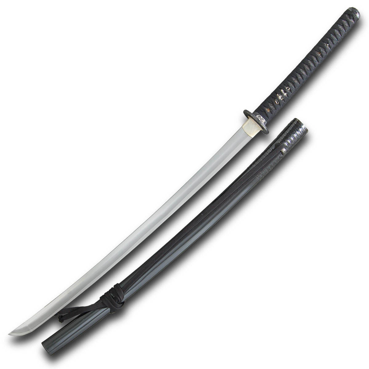 Oni Katana by Paul Chen / Hanwei with black ray skin tsuka, flexible L-6 tool steel blade and lacquered saya