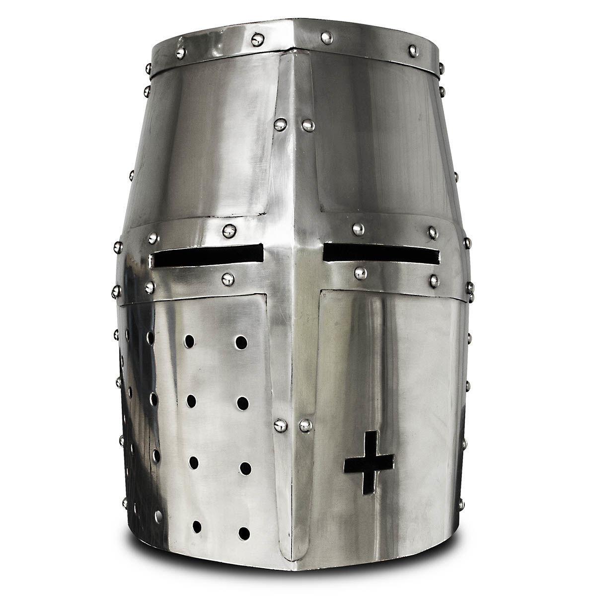Windlass Crusader Helmet is 18 gauge steel with narrow eye slits for protection