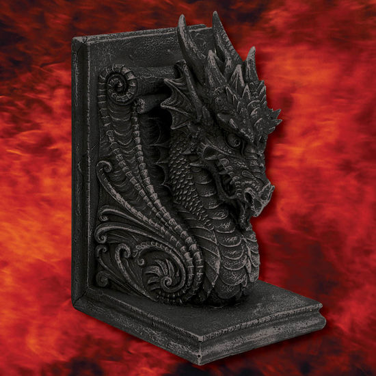 One of the two horned dragon bookends, cast in resin and hand-painted to look like antique stone