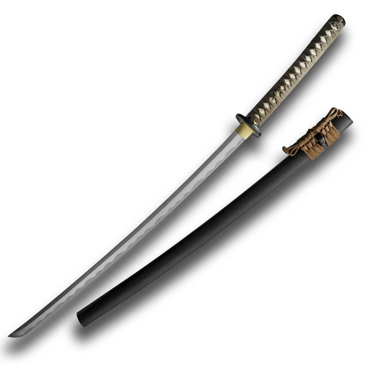 Date Masamune Katana by Paul Chen / Hanwei has forged steel blade, same with suede wrap, decorative menuki and tsuba
