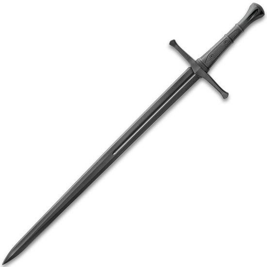 The Honshu Practice Broadsword is polypropylene and mimics an actual Medieval broadsword in length, size, weight, and feel