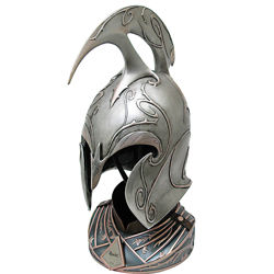 Hobbit Rivendell Elf Helm licensed prop replica includes stand and has aged finish