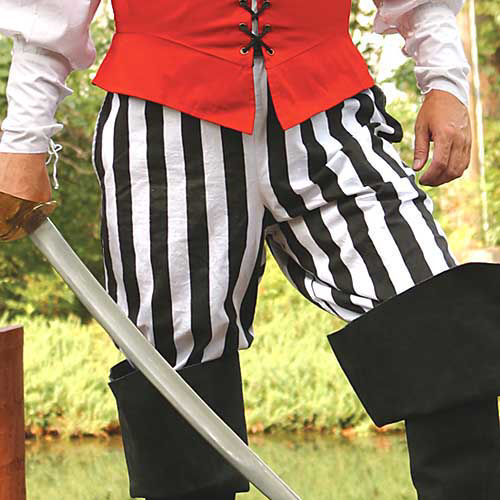 Black Cotton Pirate Pants with White Stripes can be worn inside boots or loose