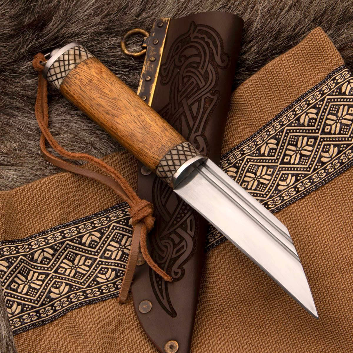 Huntsman's Hadseax Viking Knife with high carbon steel blade, brass hardware, hardwood handle and embossed leather sheath