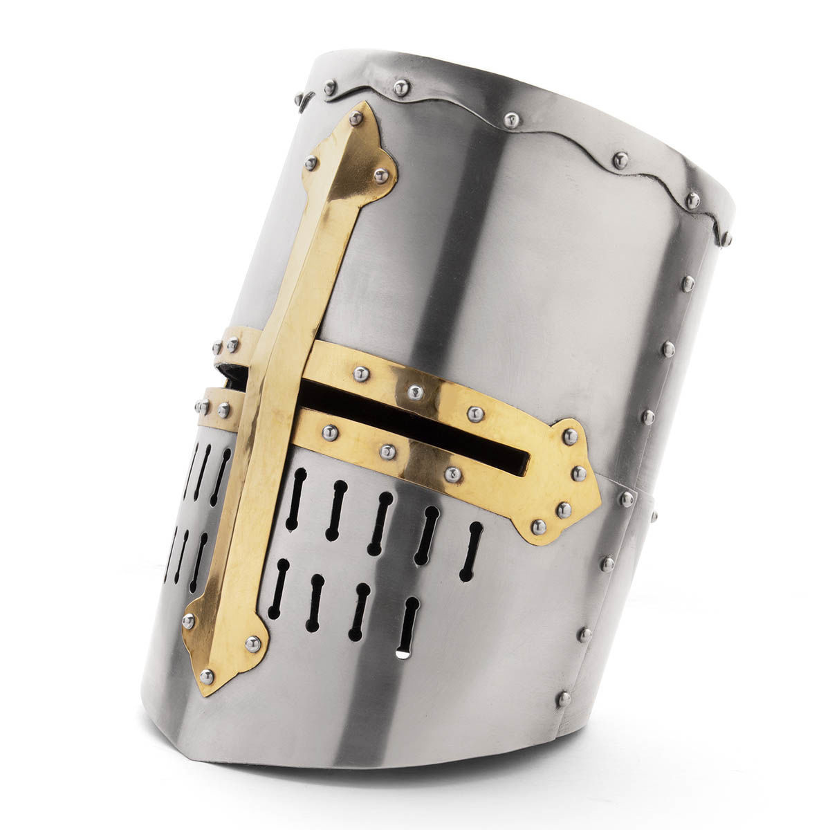 Medieval Great Helm in 18 gauge steel has narrow eye slits and brass reinforcing bands