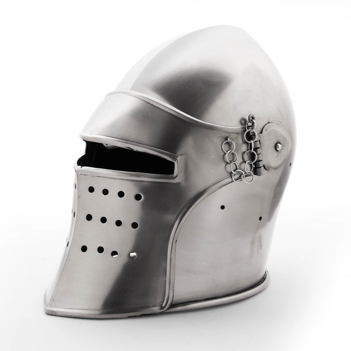 Medieval 18 Gauge Steel Bascinet Helmet  With Detachable Visor