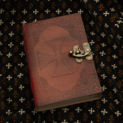 Crusader Knight Leather Journal with Embossed Templar Cross and Brass Latch