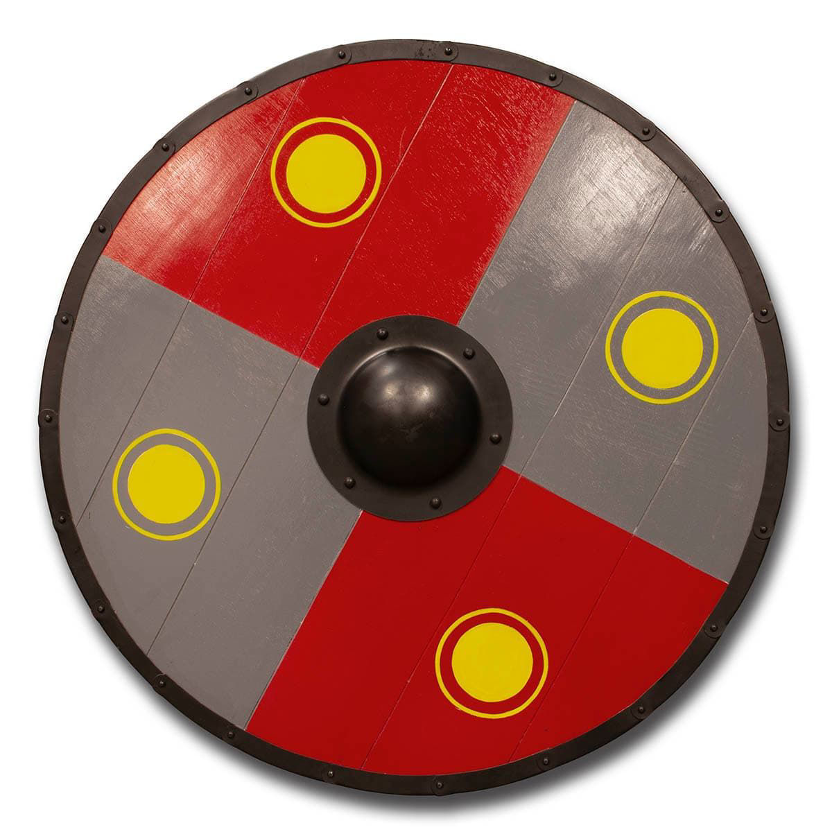 Viking Shield made with wood planks and hand painted with grey and red quadrants and yellow circles