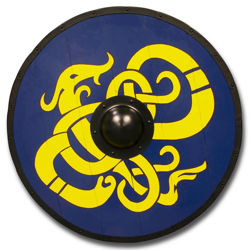 Viking Shield made with wood planks and hand-painted with Interlaced yellow dragon design is outlined in dark brown and set on a blue background