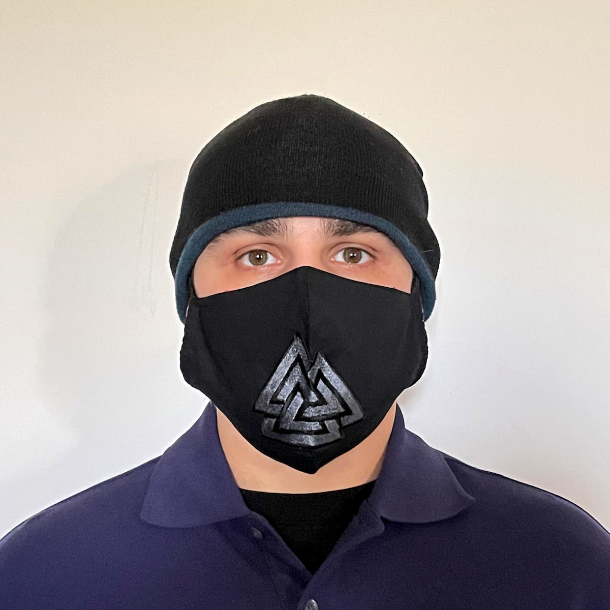 Black Cotton Face Mask with silk embroidered Viking Valknut, adjustable straps and pocket for disposable filter