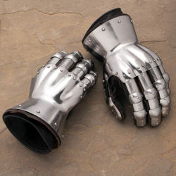 Fully articulated, wearable 18 gauge steel gauntlets that are riveted to leather gloves, copied from 14th century examples
