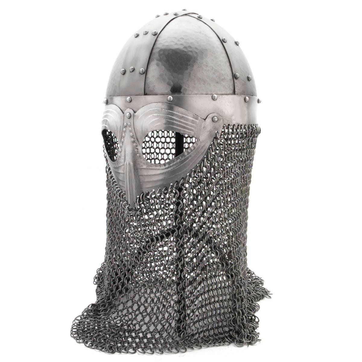 Hammered 18 Gauge Steel Spangenhelm Viking Helmet With Aventail Mail skirt and Hammered Skull
