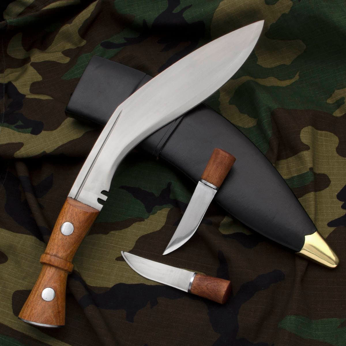 """Military issue Gurkha Regimental Kukri has sharp 1/4"""" blade and scabbard with 2 accessory knives"""