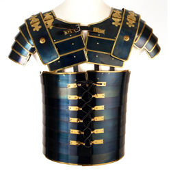 Roman Legion Lorica Segmentata of the Praetorian Guard made in 16 gauge blued steel with brass trim and detachable pauldrons