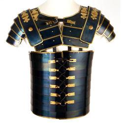 Roman Legion Lorica Segmentata of the Praetorian Guard made in 16 gauge blued steel with brass trim and detachable pauldrons