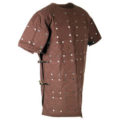 Cotton Brigandine with riveted 16 gauge steel plate inserts copied from late medieval, early Renaissance examples