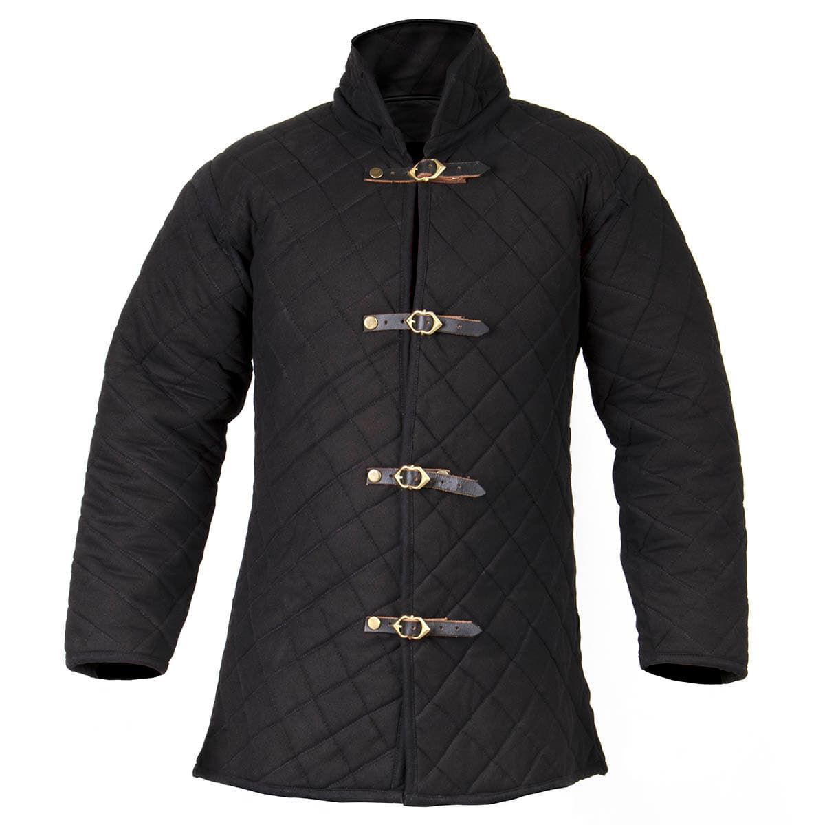 Long Sleeved Front Buckle Padded Gambeson is heavy duty, canvas grade cotton with open armpits and a high neck for protection