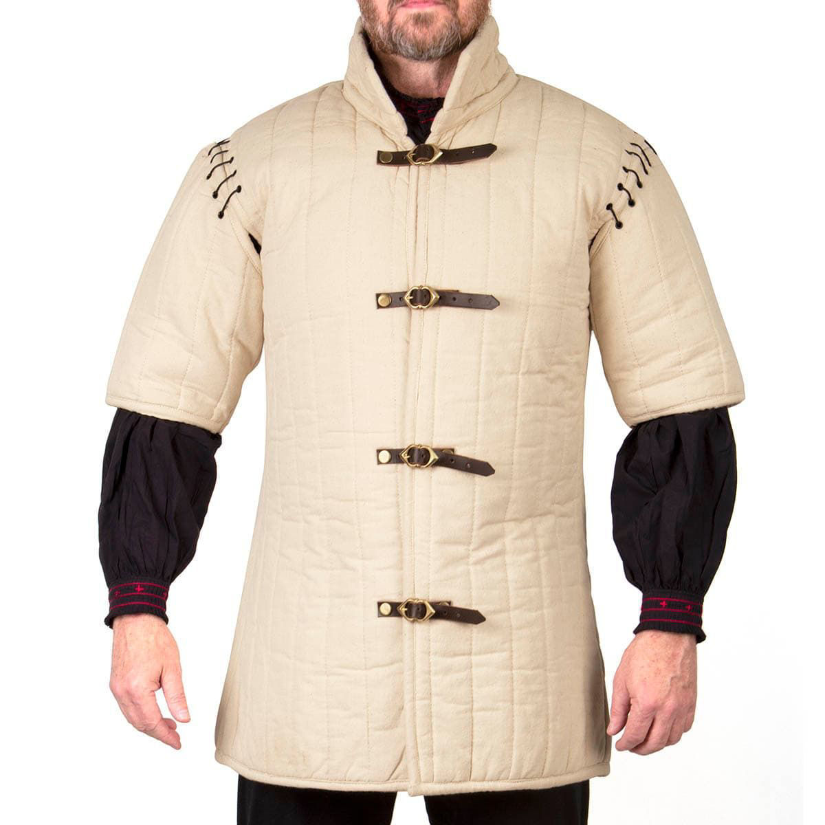 Padded Gambeson With Interchangeable Sleeves and Front Buckle Closure