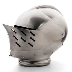 Tudor 16th Century Armet Renaissance Helmet is 18 gauge steel, wearable with hinged visor and chin plates and cotton liner