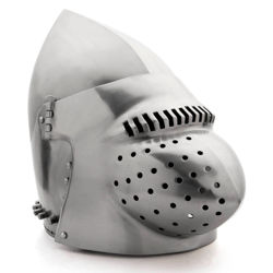 18 gauge steel Hounskull Medieval Helmet has a removable snoutlike visor attached to a bascinet