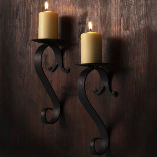 "Set of 2 hand made wrought iron wall sconces with S-shape arms for candles up to 2-3/4"" in diameter"