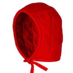 Thickly padded, heavy cotton red arming cap to wear under helmets has tough, thick laces